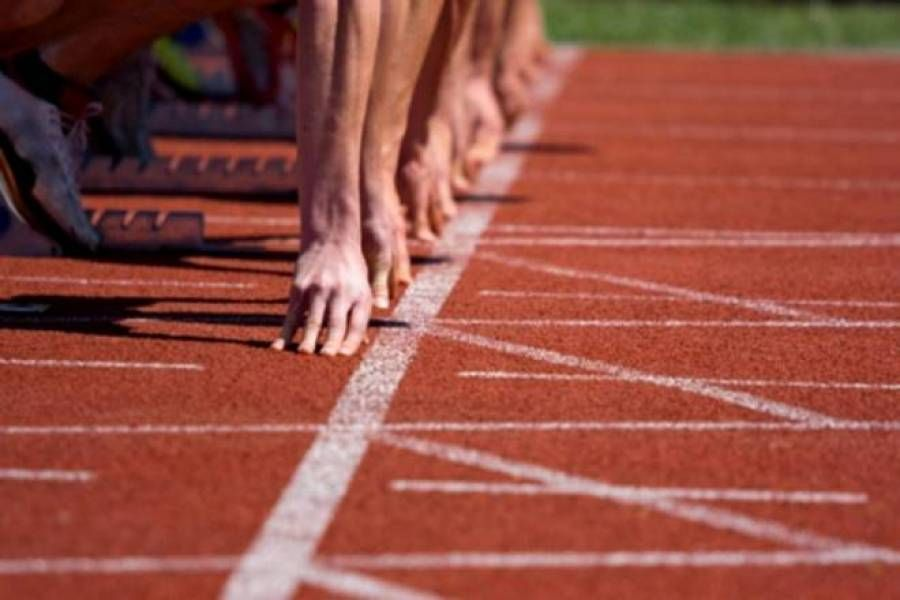 Installation of running track at North Corfu sports ground in 2020